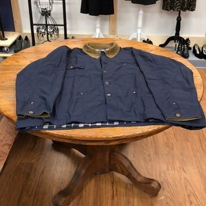 Navy barn coat with corduroy cuffs & flannel lined